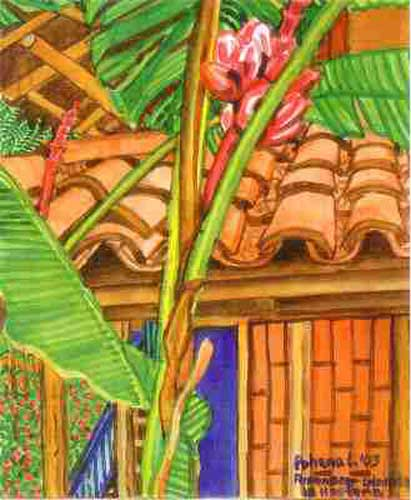 Close-up of Banana Trees and Tiles