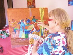 Rohana painting 'Market with Sugar Cane'
